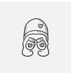 Hat and mittens for children sketch icon vector image