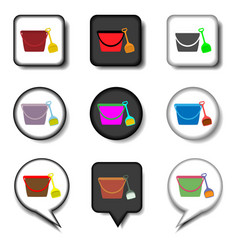 Icon logo for set symbols bucket vector