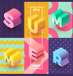 Its summer time isometric sign vector