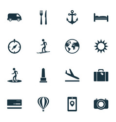 journey icons set with aircraft skier monument vector image
