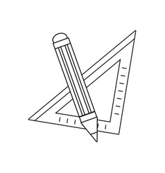Line square ruler with pencil school tools vector