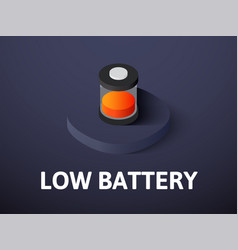 low battery isometric icon isolated on color vector image