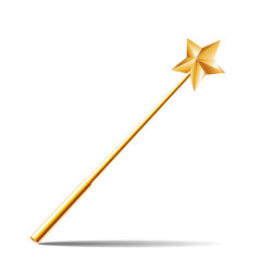 magic wand with gold star vector image