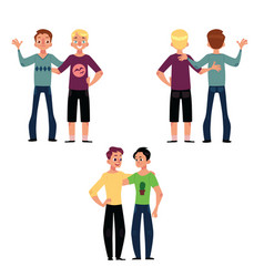 male friendship concept couple of boys friends vector image