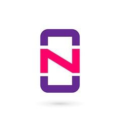 Mobile phone app letter N logo icon design vector