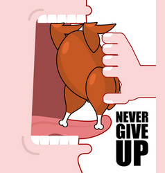 Never give up optimistic inspiring poster fried vector