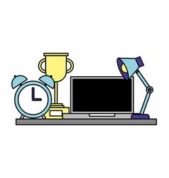 office lamp computer trophy and clock vector image