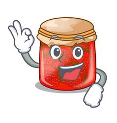 Okay strawberry marmalade in glass jar of cartoon vector
