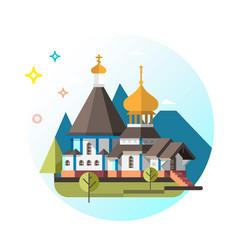 Orthodox church flat design vector