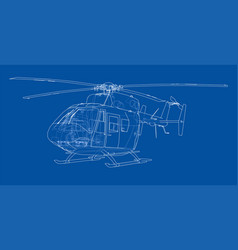 outline drawing helicopter vector image