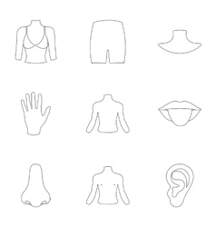 Part of body set icons in outline style Big vector