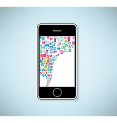 Phone social network background with media icons vector