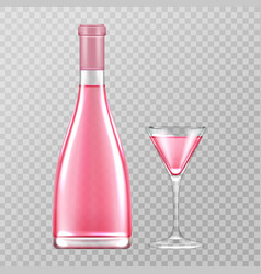 Pink champagne bottle and glass rose bubbly wine vector