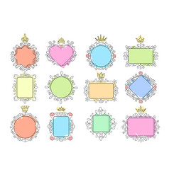 princess mirror frames set vector image
