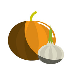 Pumpkin and onion vegetable icon vector