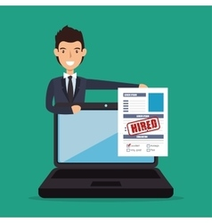 Recruitment employee hired isolated vector