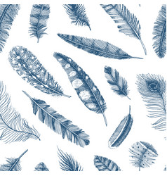 seamless pattern rustic realistic feathers vector image