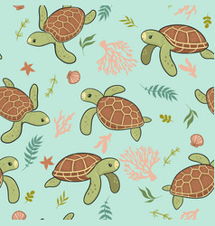seamless pattern with cute sea turtles vector image