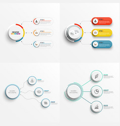 Set abstract elements graph infographic vector