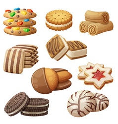 set cookie icons cartoon vector image
