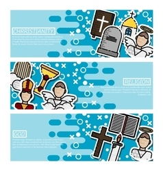 set horizontal banners about christianity vector image