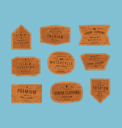 Set leather patch for denim clothing vector