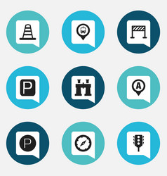 Set of 9 editable direction icons includes vector
