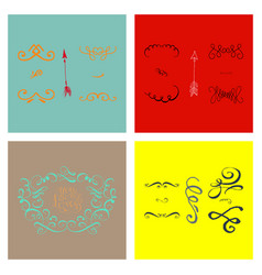 set of ornate frame elements vintage and filigree vector image