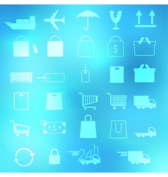 Set of shopping icons on abstract backgrounds vector image