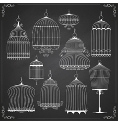 Set of silhouettes of birdcages vector image