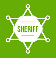 sheriff badge icon green vector image