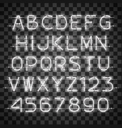 shining and glowing white neon alphabet and digits vector image