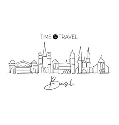 single continuous line drawing basel city vector image