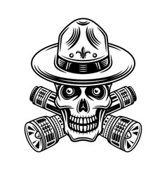 Skull boy scout with flashlights vector