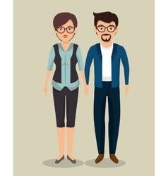 Teamwork business couple icon vector