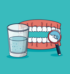 Teeth treatment with mouthwash glass and vector