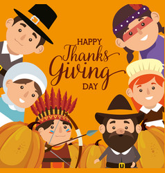 Thanks giving card with pilgrims and natives vector