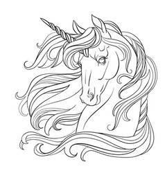 Unicorn head coloring book page vector