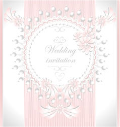 Wedding invitation with pearls flowers in pink co vector