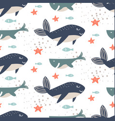 whale seamless pattern cartoon style blue vector image