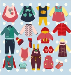 Winter-clothes-baby-set vector