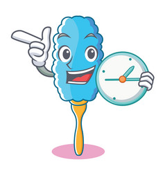 with clock feather duster character cartoon vector image