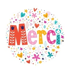 Word Merci Thanks in French typography lettering vector