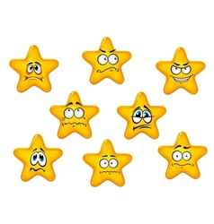 Yellow stars with negative emotions vector image