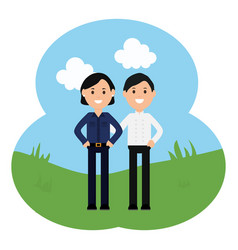 young business couple avatars characters vector image
