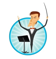 Cartoon man conducting an orchestra vector
