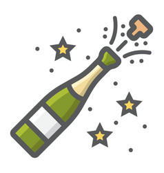 champagne bottle pop filled outline icon vector image