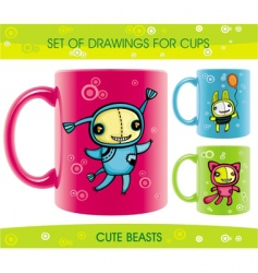 cups with funny beasts drawings vector image vector image