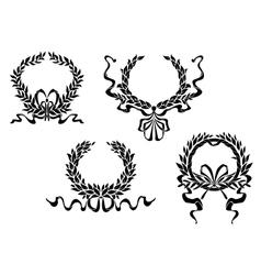 Heraldic laurel wreaths with ribbons vector image