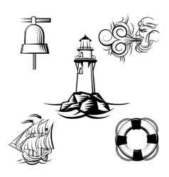Sea design elements vector image vector image